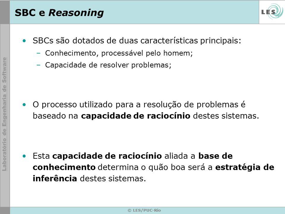 SBC e Reasoning SBCs são dotados de duas características principais: –Conhecimento, processável pelo homem; –Capacidade de resolver problemas; O processo utilizado para a resolução de problemas é baseado na capacidade de raciocínio destes sistemas.