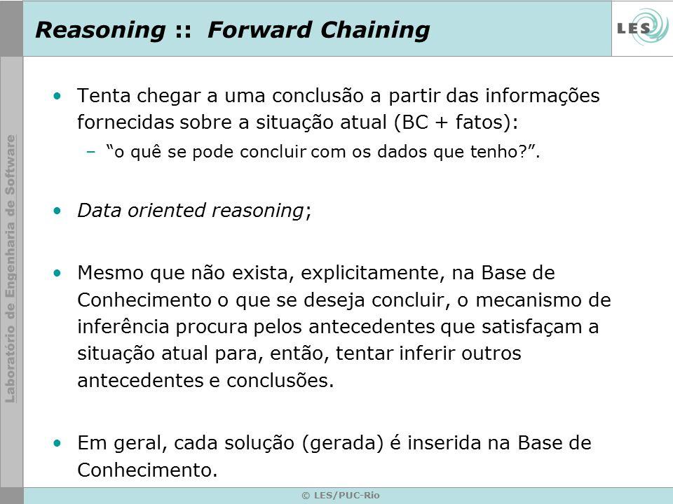 Reasoning :: Forward Chaining Tenta chegar a uma conclusão a partir das informações fornecidas sobre a situação atual (BC + fatos): – o quê se pode concluir com os dados que tenho? .