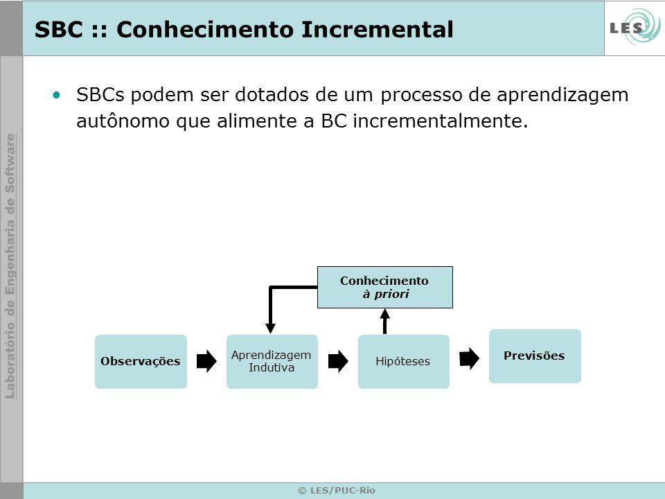SBC :: Conhecimento Incremental Observações Aprendizagem Indutiva HipótesesPrevisões © LES/PUC-Rio Conhecimento à priori SBCs podem ser dotados de um processo de aprendizagem autônomo que alimente a BC incrementalmente.