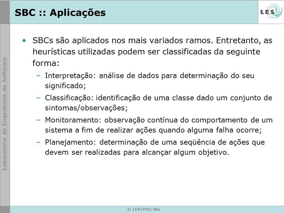 SBC :: Aplicações SBCs são aplicados nos mais variados ramos. Entretanto, as heurísticas utilizadas podem ser classificadas da seguinte forma: –Interp