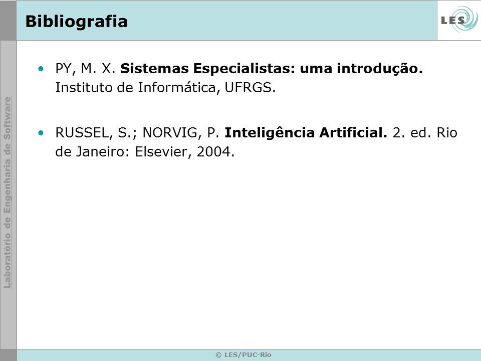 Bibliografia PY, M. X. Sistemas Especialistas: uma introdução. Instituto de Informática, UFRGS. RUSSEL, S.; NORVIG, P. Inteligência Artificial. 2. ed.