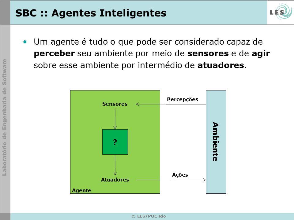 SBC :: Agentes Inteligentes © LES/PUC-Rio ? Ambiente Agente Sensores Atuadores Percepções Ações Um agente é tudo o que pode ser considerado capaz de p