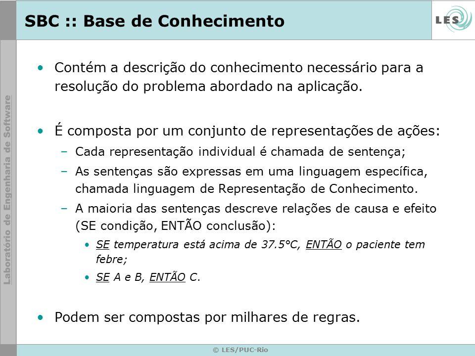 SBC :: Base de Conhecimento Contém a descrição do conhecimento necessário para a resolução do problema abordado na aplicação. É composta por um conjun