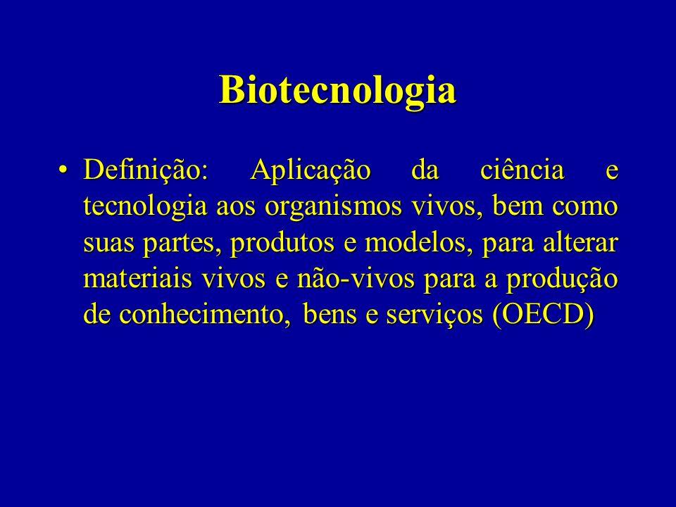 Biotecnologia Definição: Aplicação da ciência e tecnologia aos organismos vivos, bem como suas partes, produtos e modelos, para alterar materiais vivos e não-vivos para a produção de conhecimento, bens e serviços (OECD)Definição: Aplicação da ciência e tecnologia aos organismos vivos, bem como suas partes, produtos e modelos, para alterar materiais vivos e não-vivos para a produção de conhecimento, bens e serviços (OECD)