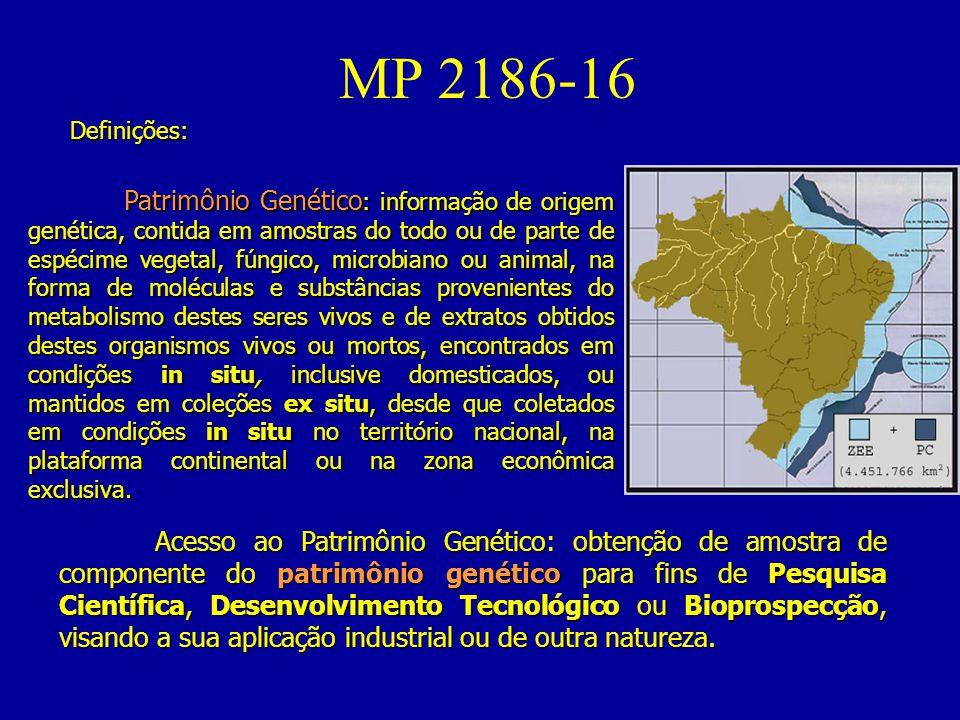 MP 2186-16 Acesso ao Patrimônio Genético: obtenção de amostra de componente do patrimônio genético para fins de Pesquisa Científica, Desenvolvimento Tecnológico ou Bioprospecção, visando a sua aplicação industrial ou de outra natureza.