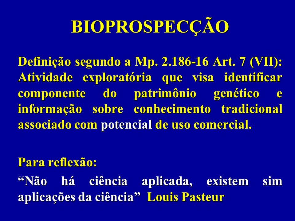 BIOPROSPECÇÃO Definição segundo a Mp. 2.186-16 Art.