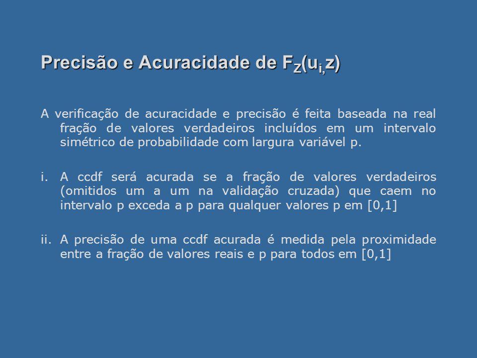 Precisão e Acuracidade de F Z (u i, z) A verificação de acuracidade e precisão é feita baseada na real fração de valores verdadeiros incluídos em um intervalo simétrico de probabilidade com largura variável p.