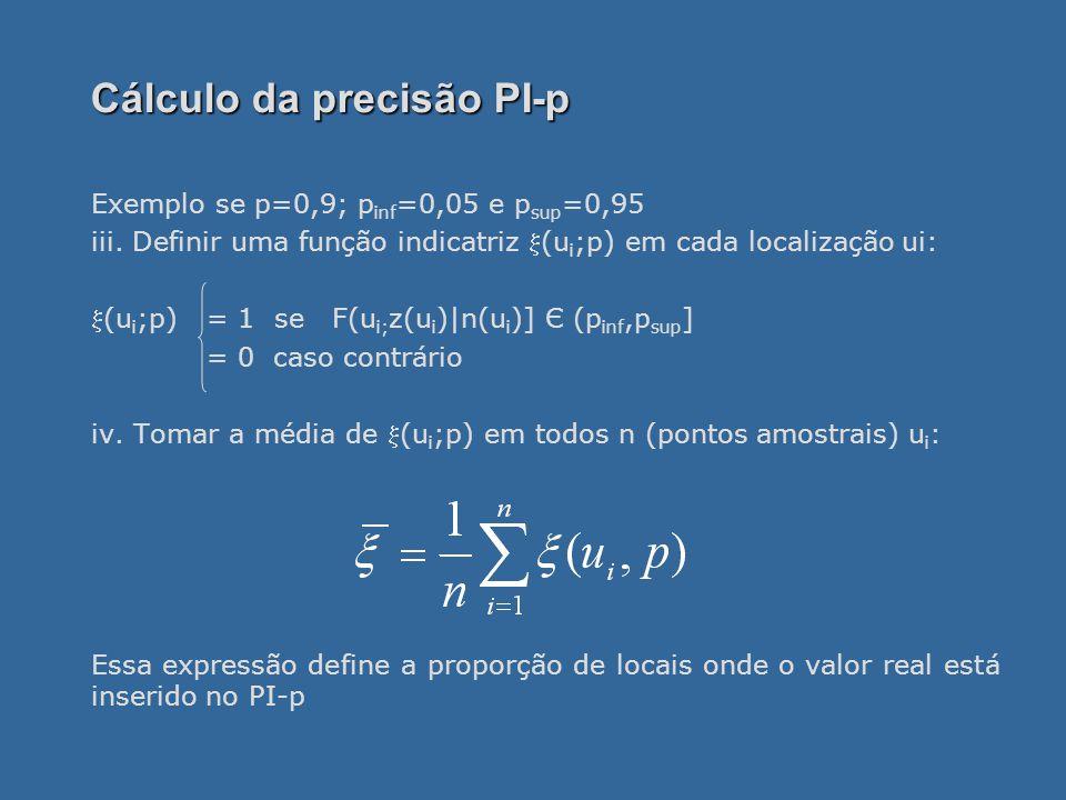 Cálculo da precisão PI-p Exemplo se p=0,9; p inf =0,05 e p sup =0,95 iii.