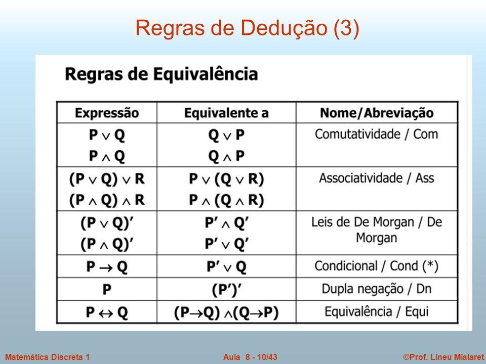 ©Prof. Lineu MialaretAula 8 - 10/43Matemática Discreta 1 Regras de Dedução (3)