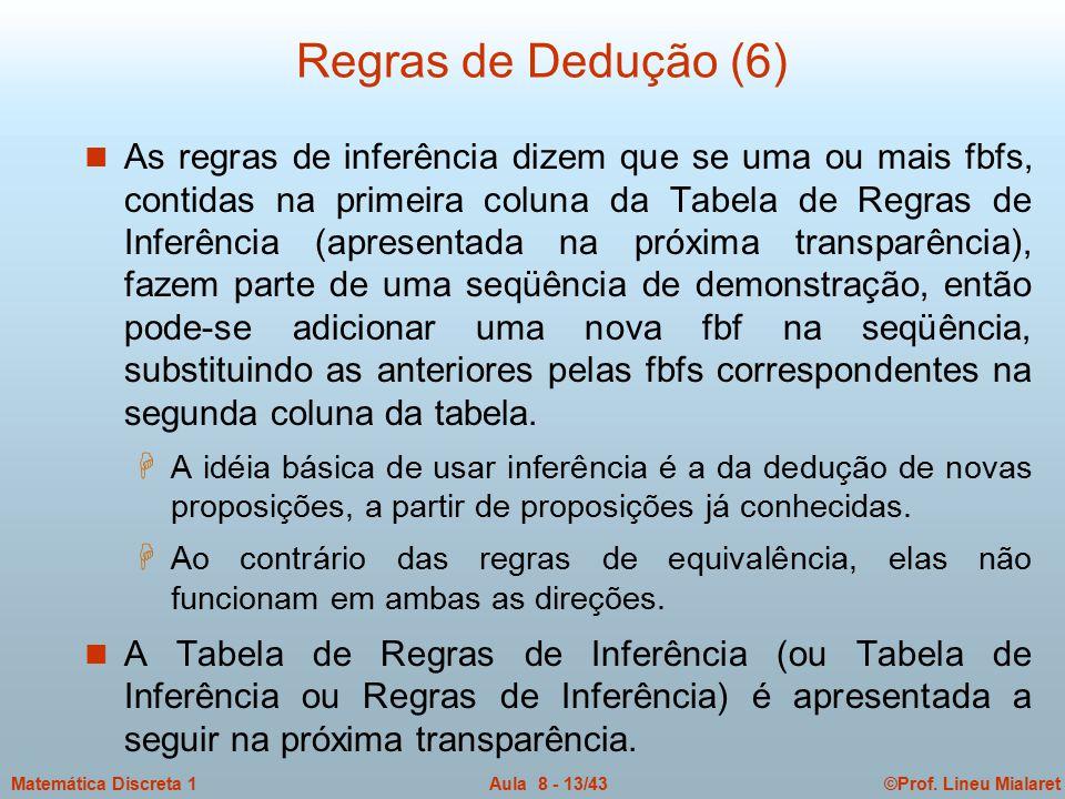 ©Prof. Lineu MialaretAula 8 - 13/43Matemática Discreta 1 Regras de Dedução (6) n As regras de inferência dizem que se uma ou mais fbfs, contidas na pr