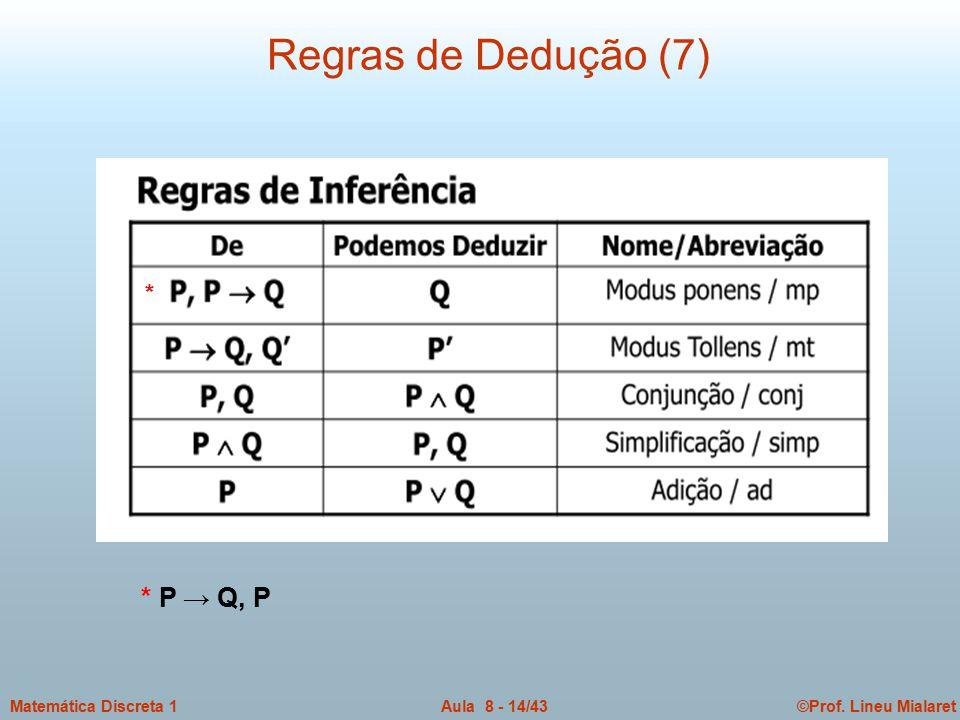 ©Prof. Lineu MialaretAula 8 - 14/43Matemática Discreta 1 Regras de Dedução (7) * * P → Q, P