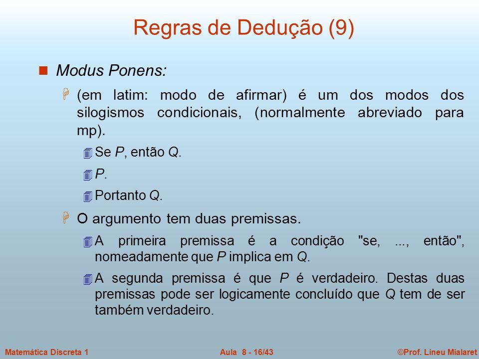 ©Prof. Lineu MialaretAula 8 - 16/43Matemática Discreta 1 Regras de Dedução (9) n Modus Ponens: H (em latim: modo de afirmar) é um dos modos dos silogi