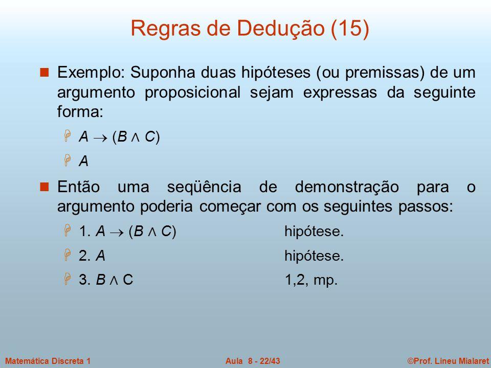 ©Prof. Lineu MialaretAula 8 - 22/43Matemática Discreta 1 Regras de Dedução (15) n Exemplo: Suponha duas hipóteses (ou premissas) de um argumento propo