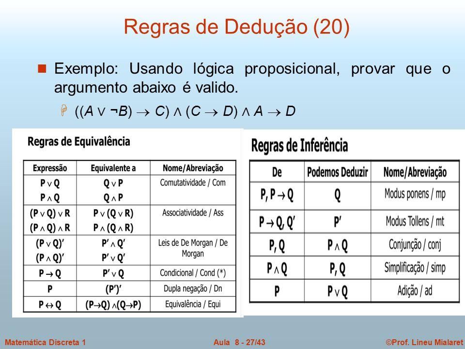 ©Prof. Lineu MialaretAula 8 - 27/43Matemática Discreta 1 Regras de Dedução (20) n Exemplo: Usando lógica proposicional, provar que o argumento abaixo