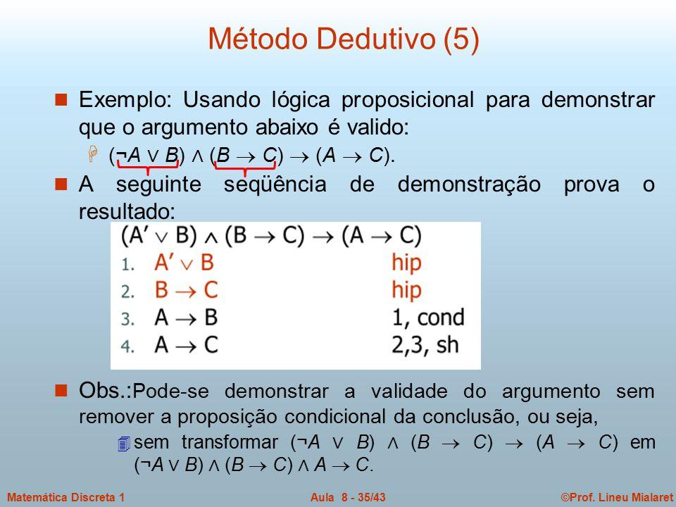 ©Prof. Lineu MialaretAula 8 - 35/43Matemática Discreta 1 n Exemplo: Usando lógica proposicional para demonstrar que o argumento abaixo é valido: H (¬A