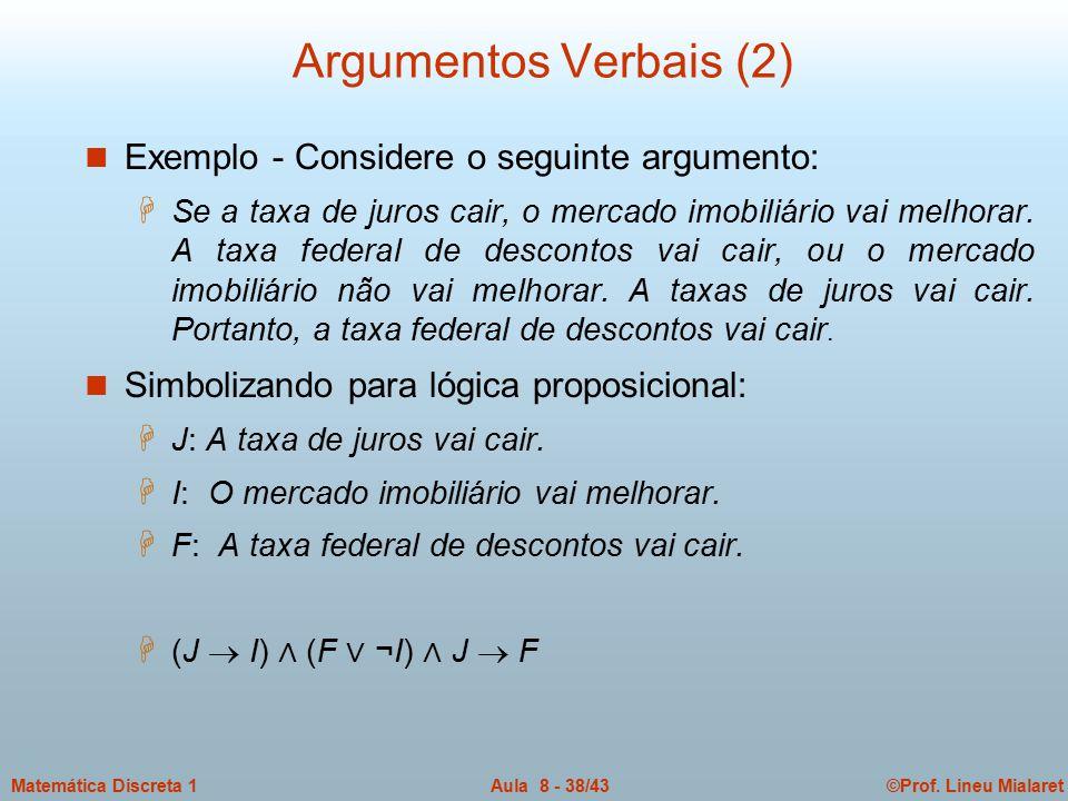 ©Prof. Lineu MialaretAula 8 - 38/43Matemática Discreta 1 Argumentos Verbais (2) n Exemplo - Considere o seguinte argumento: H Se a taxa de juros cair,