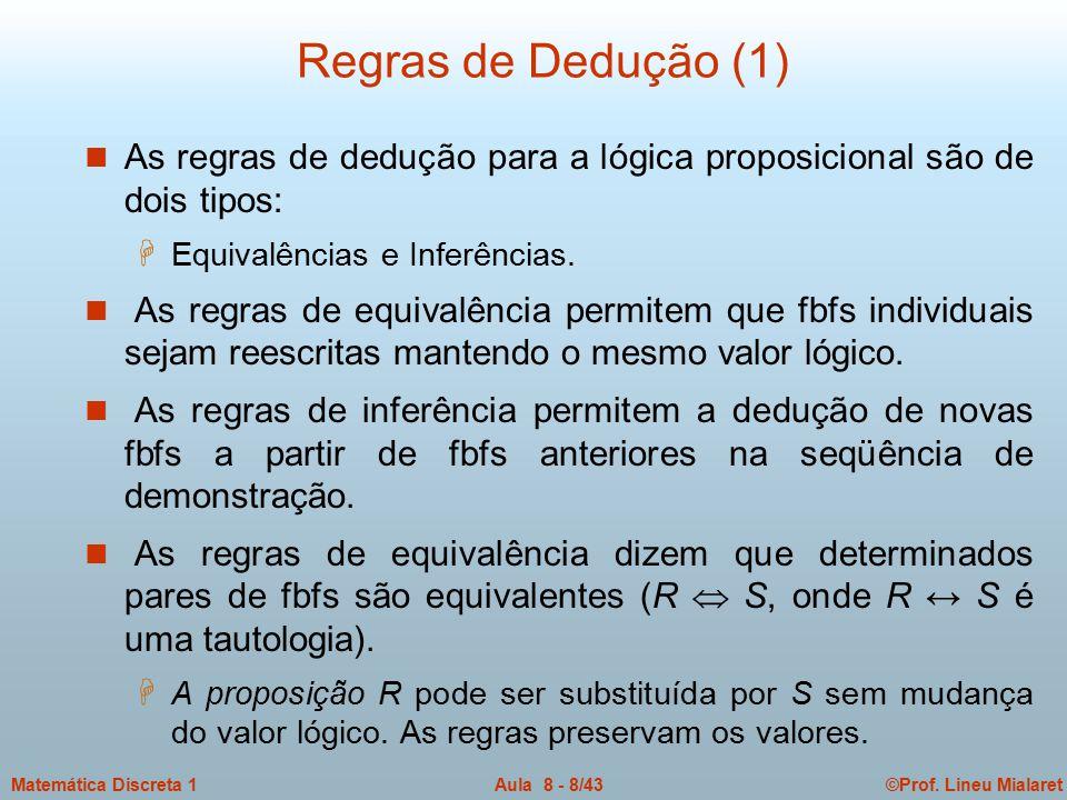 ©Prof. Lineu MialaretAula 8 - 8/43Matemática Discreta 1 Regras de Dedução (1) n As regras de dedução para a lógica proposicional são de dois tipos: H
