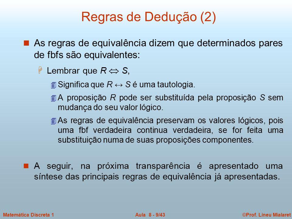 ©Prof. Lineu MialaretAula 8 - 9/43Matemática Discreta 1 Regras de Dedução (2) n As regras de equivalência dizem que determinados pares de fbfs são equ