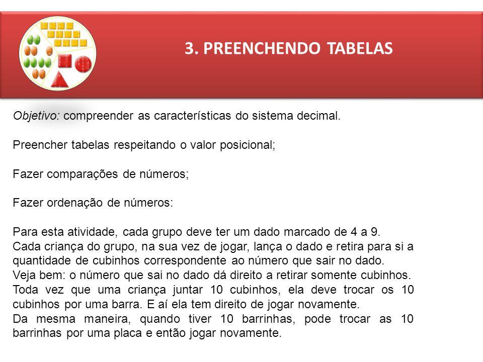 3.PREENCHENDO TABELAS Objetivo: compreender as características do sistema decimal.