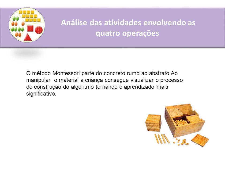 Análise das atividades envolvendo as quatro operações O método Montessori parte do concreto rumo ao abstrato.Ao manipular o material a criança consegue visualizar o processo de construção do algoritmo tornando o aprendizado mais significativo.