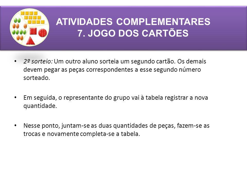 ATIVIDADES COMPLEMENTARES 7.JOGO DOS CARTÕES 2º sorteio: Um outro aluno sorteia um segundo cartão.