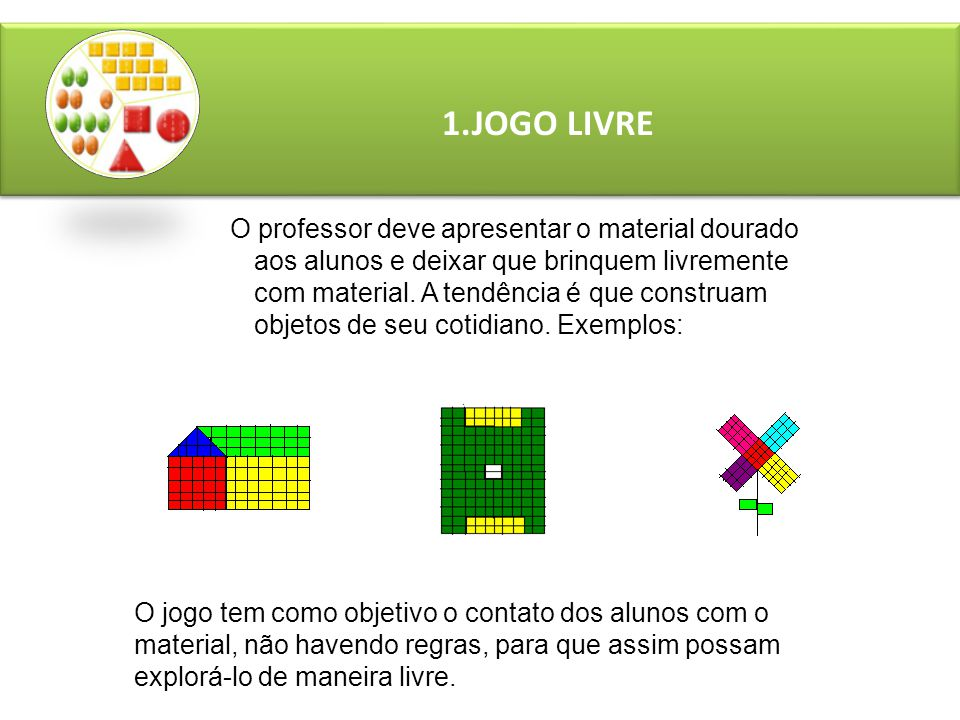 1.JOGO LIVRE O professor deve apresentar o material dourado aos alunos e deixar que brinquem livremente com material.