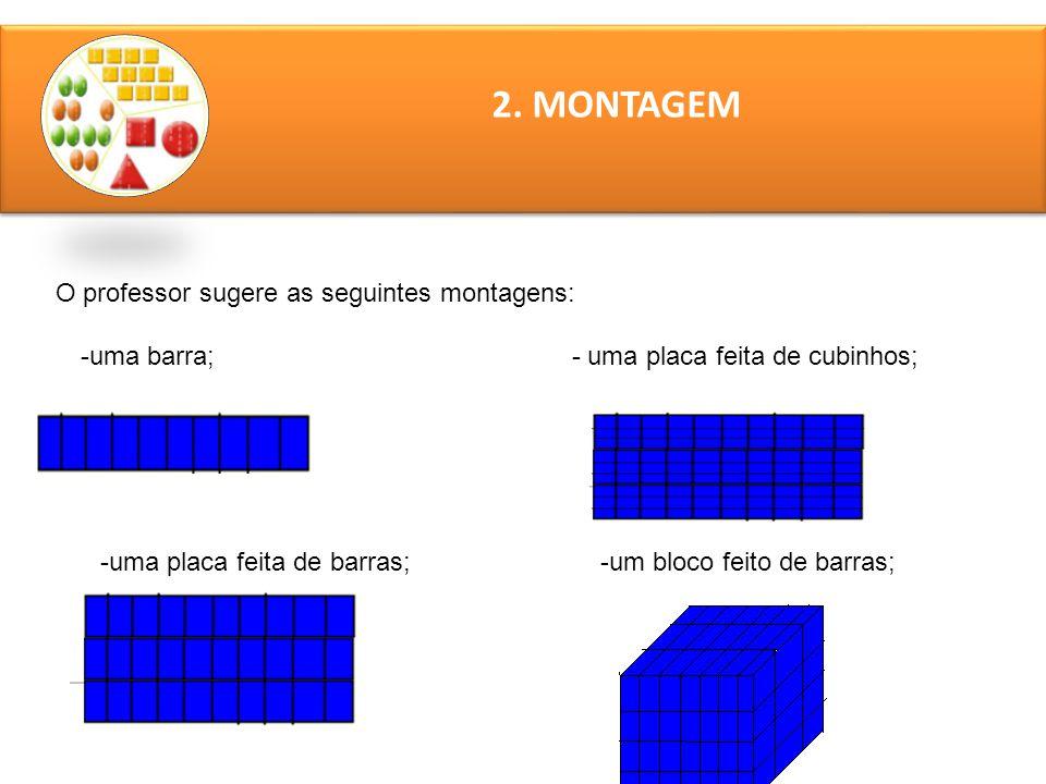 2. MONTAGEM O professor sugere as seguintes montagens: -uma barra; - uma placa feita de cubinhos; -uma placa feita de barras; -um bloco feito de barra