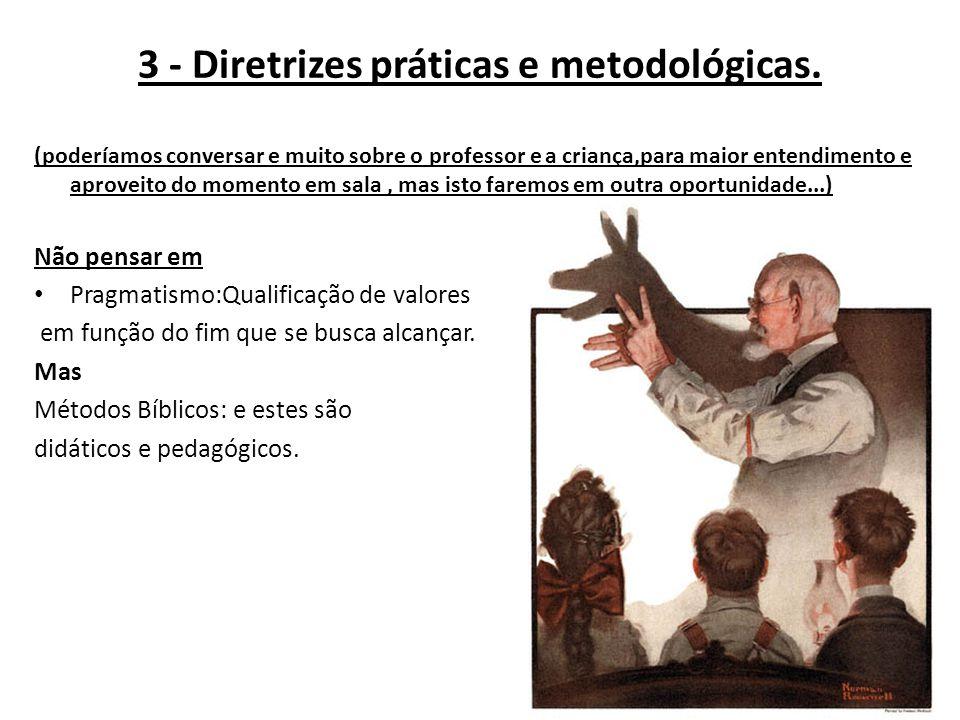 3 - Diretrizes práticas e metodológicas. (poderíamos conversar e muito sobre o professor e a criança,para maior entendimento e aproveito do momento em