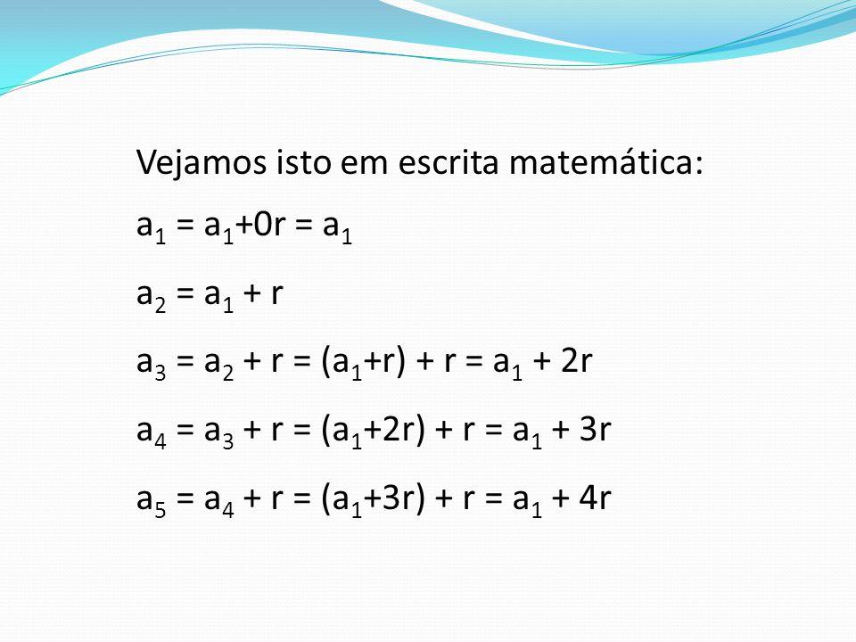 Vejamos isto em escrita matemática: a 1 = a 1 +0r = a 1 a 2 = a 1 + r a 3 = a 2 + r = (a 1 +r) + r = a 1 + 2r a 4 = a 3 + r = (a 1 +2r) + r = a 1 + 3r a 5 = a 4 + r = (a 1 +3r) + r = a 1 + 4r
