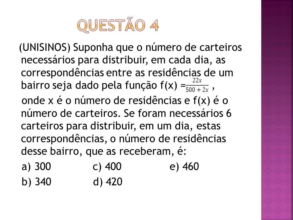 (UNISINOS) Suponha que o número de carteiros necessários para distribuir, em cada dia, as correspondências entre as residências de um bairro seja dado
