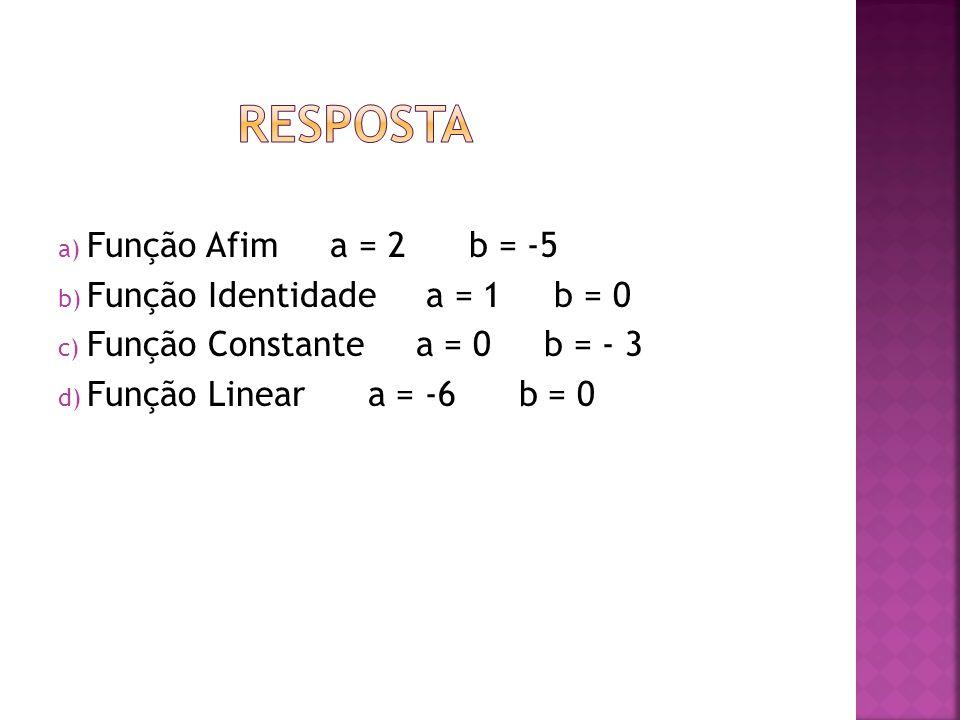 a) Função Afim a = 2 b = -5 b) Função Identidade a = 1 b = 0 c) Função Constante a = 0 b = - 3 d) Função Linear a = -6 b = 0