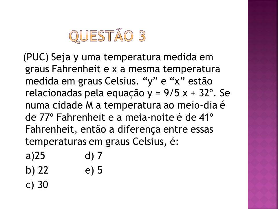 """(PUC) Seja y uma temperatura medida em graus Fahrenheit e x a mesma temperatura medida em graus Celsius. """"y"""" e """"x"""" estão relacionadas pela equação y ="""