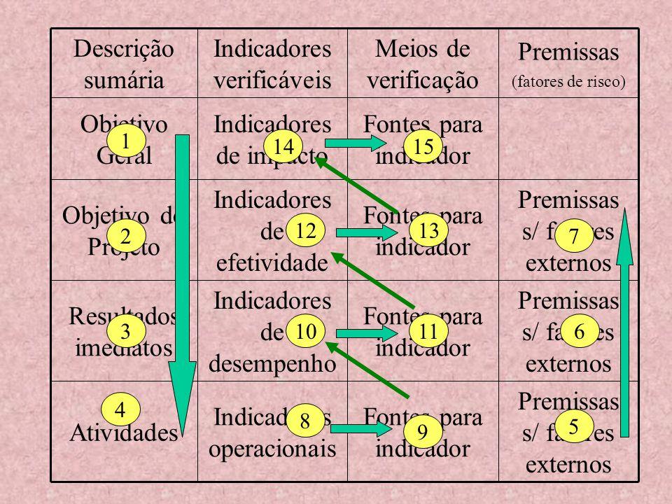 Premissas s/ fatores externos Fontes para indicador Indicadores operacionais Atividades Premissas s/ fatores externos Fontes para indicador Indicadore