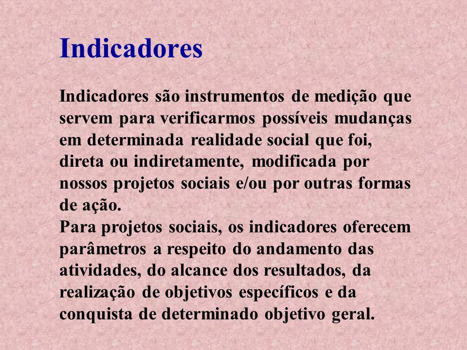 Indicadores Indicadores são instrumentos de medição que servem para verificarmos possíveis mudanças em determinada realidade social que foi, direta ou