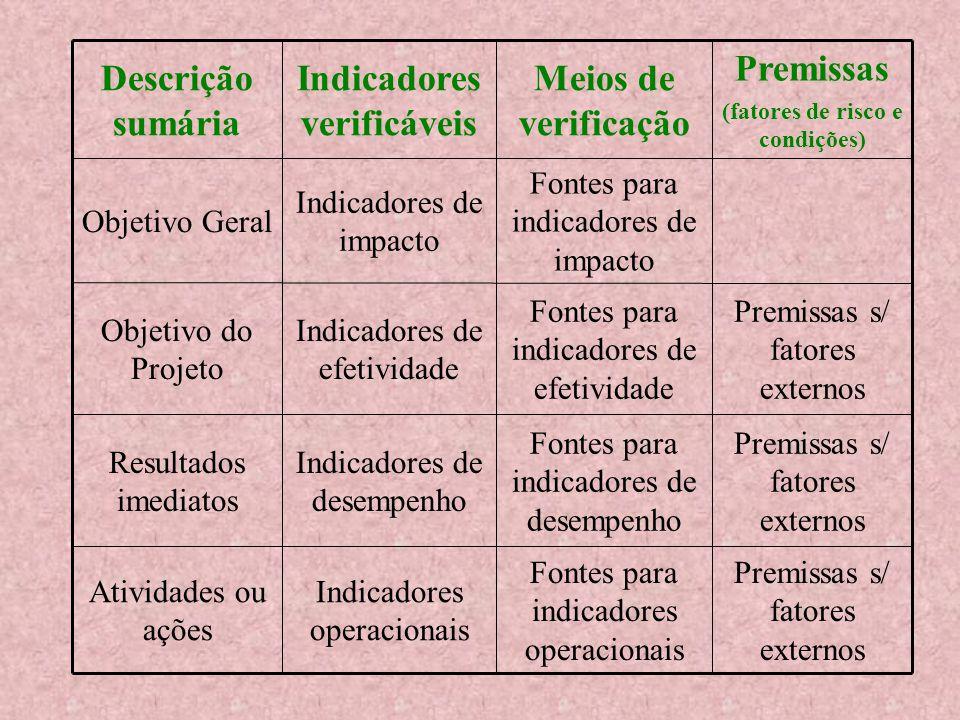 Descrição e Indicadores Objetivo Geral Objetivo do Projeto Resultados Atividades e recursosIndicadores operacionais Indicares de desempenho Indicadores de efetividade Indicadores de impacto