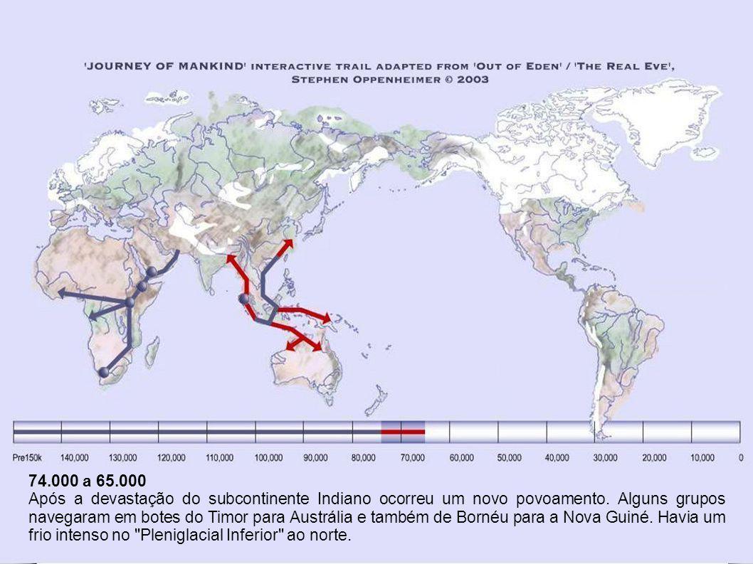 Há 74.000 anos Uma enorme erupção do Monte Toba, na Sumatra, causou um inverno nuclear que durou 6.000 anos e uma instantânea era glacial por 1.000 anos, desencadeando uma aniquilação da população humana que ficou reduzida a menos de 10.000 adultos.