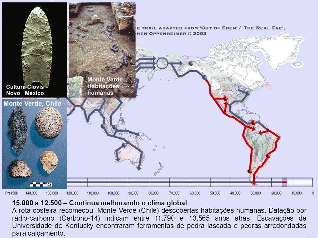 19.000 a 15.000 – Último Máximo Glacial Na América do Norte, ao sul do gelo, alguns grupos continuaram a desenvolver diversidades na língua, cultura e genética à medida em que cruzaram para a América do Sul.