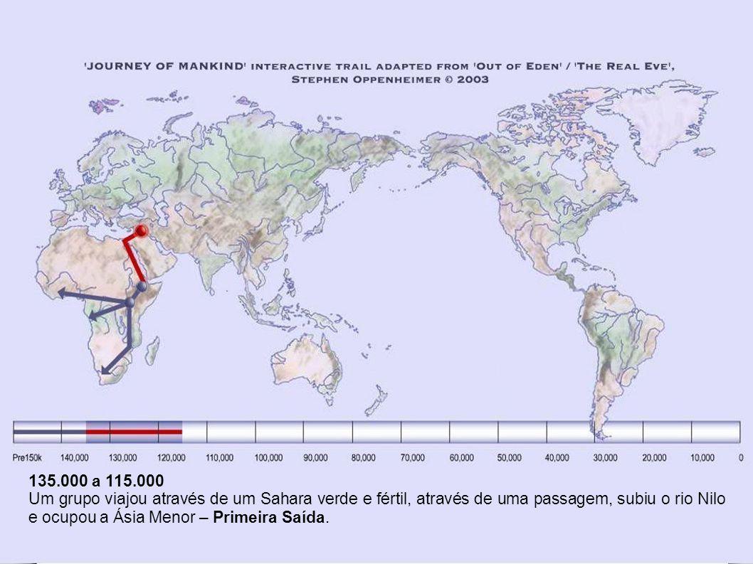135.000 a 115.000 Um grupo viajou através de um Sahara verde e fértil, através de uma passagem, subiu o rio Nilo e ocupou a Ásia Menor – Primeira Saída.