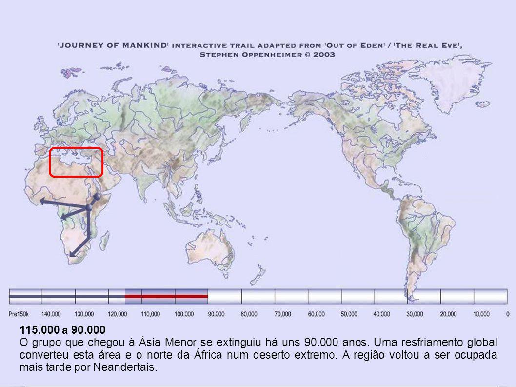 22.000 a 19.000 Durante a última Idade do Gelo o norte da Europa, da Ásia e América do Norte estavam totalmente despovoadas com alguns grupos sobreviventes isolados em refúgios.