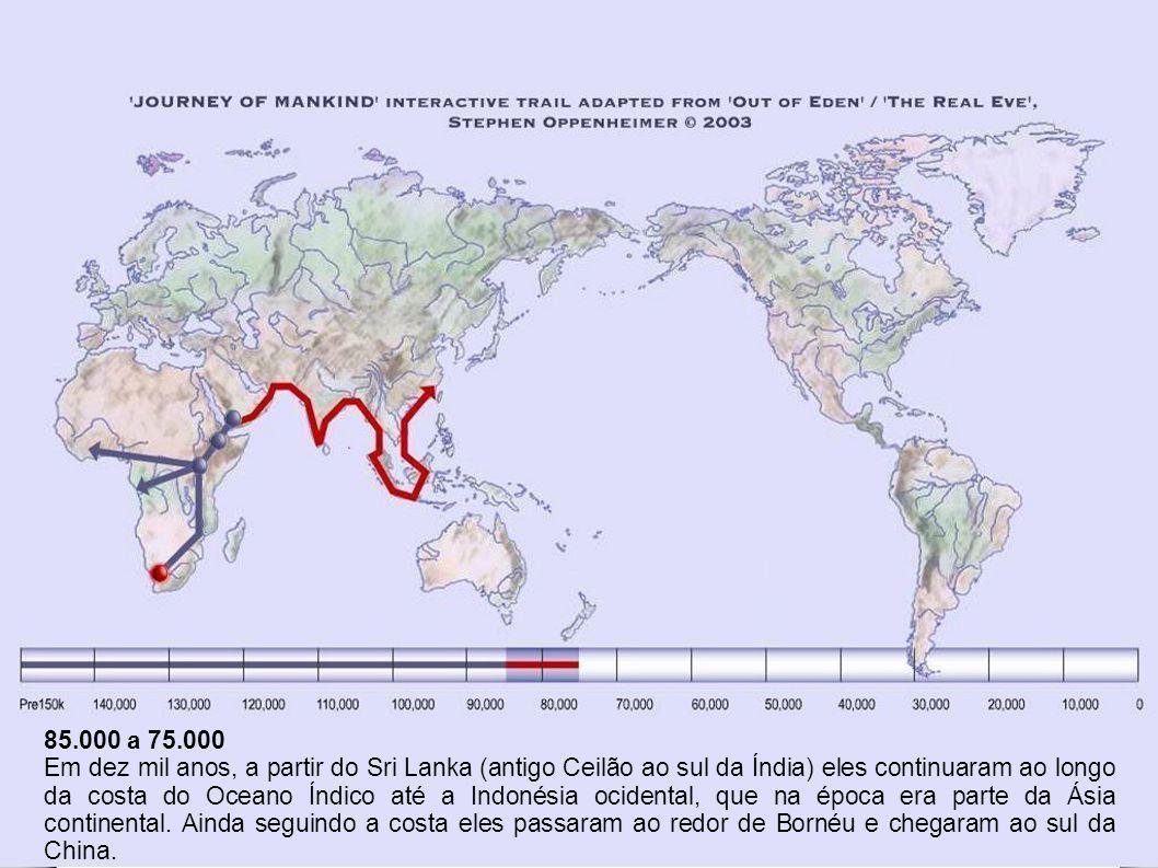 85.000 a 75.000 Em dez mil anos, a partir do Sri Lanka (antigo Ceilão ao sul da Índia) eles continuaram ao longo da costa do Oceano Índico até a Indonésia ocidental, que na época era parte da Ásia continental.