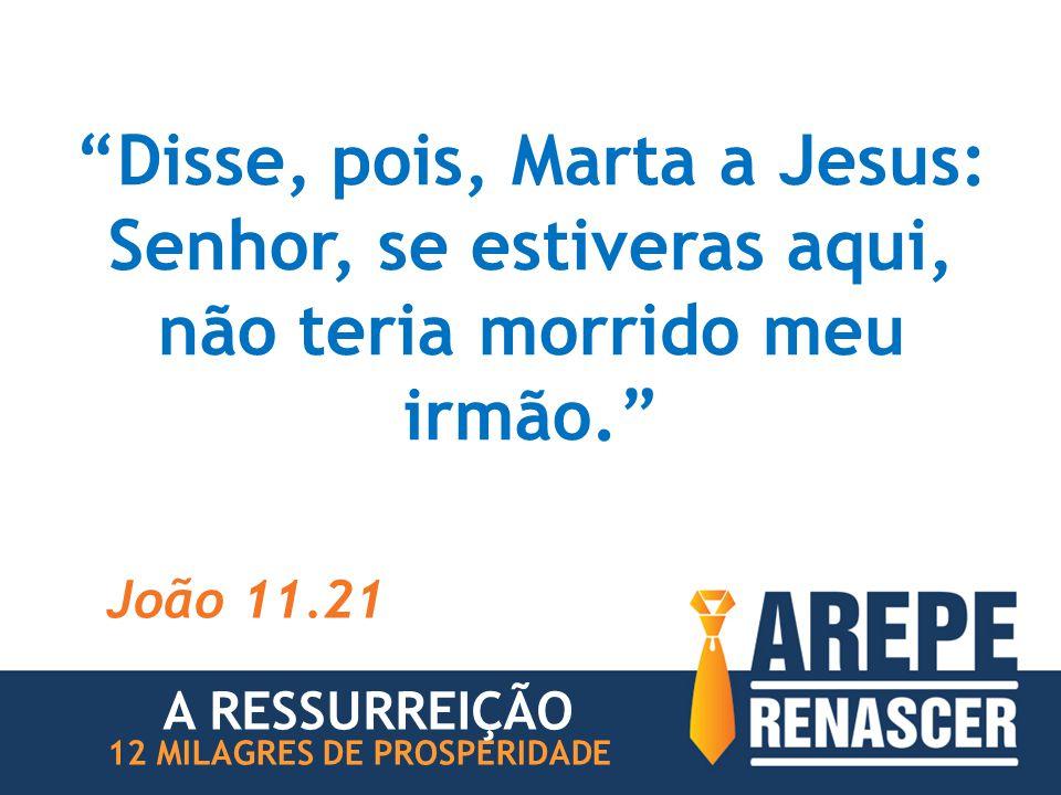 """""""Disse, pois, Marta a Jesus: Senhor, se estiveras aqui, não teria morrido meu irmão."""" João 11.21 12 MILAGRES DE PROSPERIDADE A RESSURREIÇÃO"""
