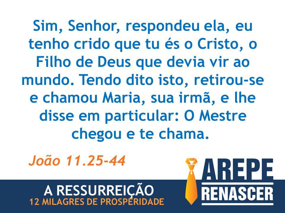 Sim, Senhor, respondeu ela, eu tenho crido que tu és o Cristo, o Filho de Deus que devia vir ao mundo. Tendo dito isto, retirou-se e chamou Maria, sua