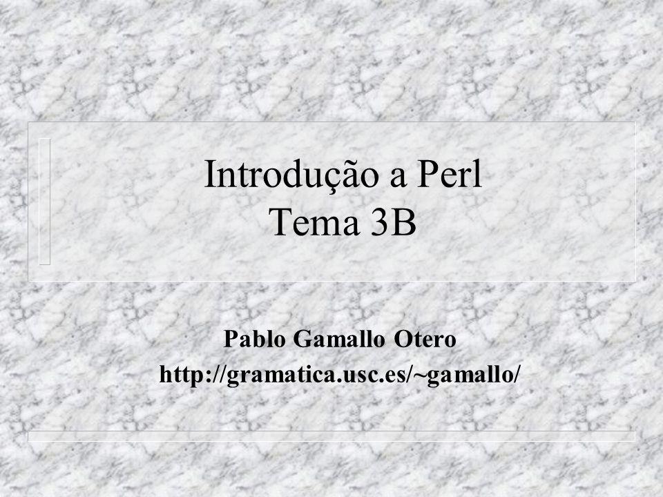 Introdução a Perl Tema 3B Pablo Gamallo Otero http://gramatica.usc.es/~gamallo/
