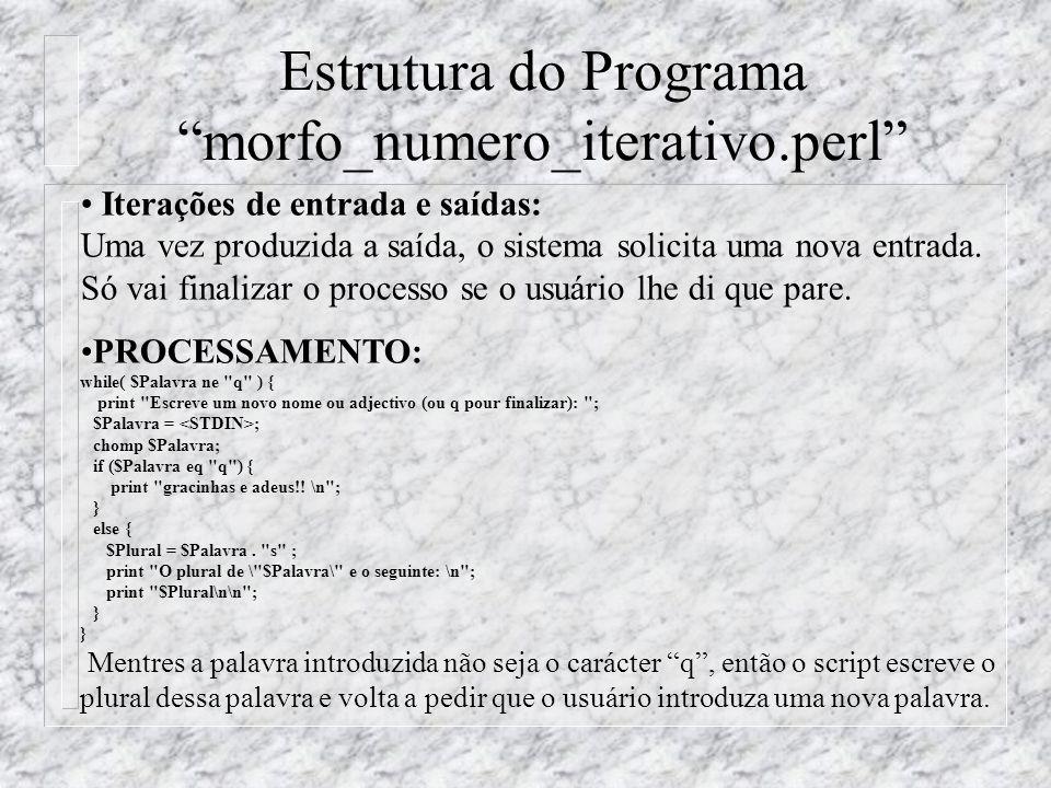 Estrutura do Programa morfo_numero_iterativo.perl Iterações de entrada e saídas: Uma vez produzida a saída, o sistema solicita uma nova entrada.