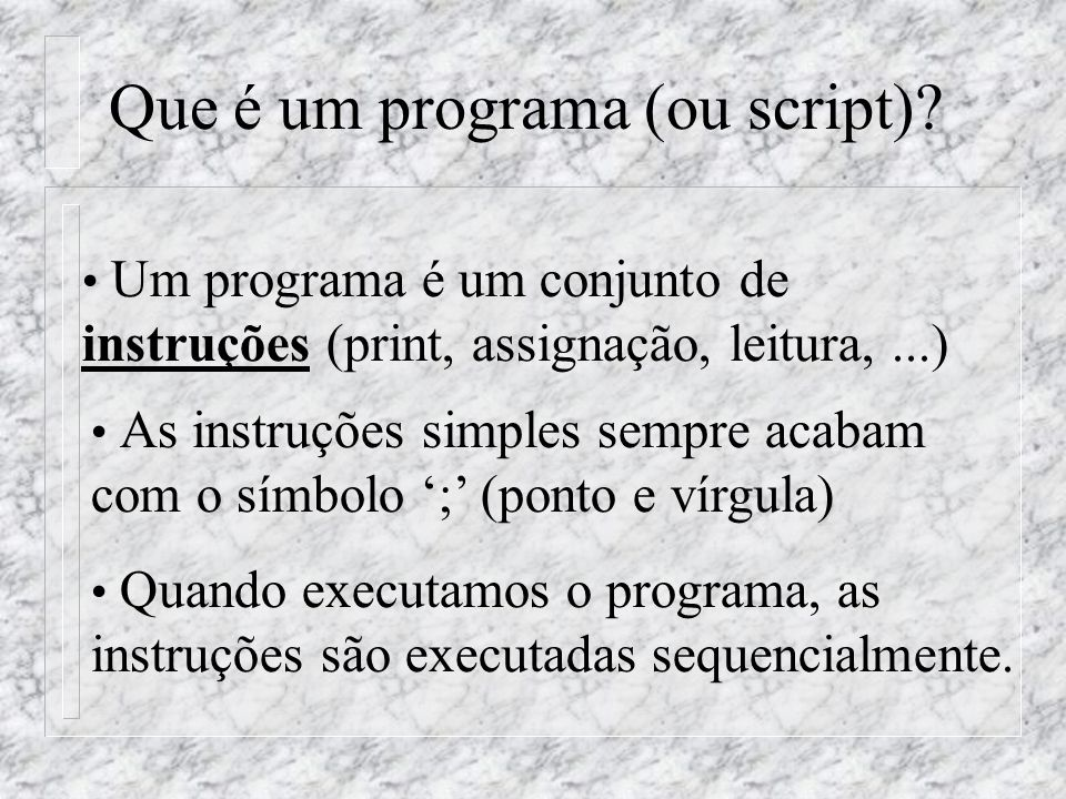 Que é um programa (ou script).