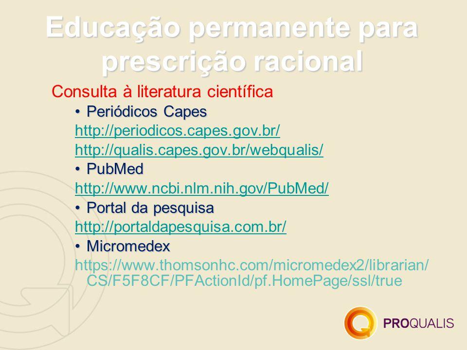 Educação permanente para prescrição racional Consulta à literatura científica Periódicos CapesPeriódicos Capes http://periodicos.capes.gov.br/ http://qualis.capes.gov.br/webqualis/ PubMedPubMed http://www.ncbi.nlm.nih.gov/PubMed/ Portal da pesquisaPortal da pesquisa http://portaldapesquisa.com.br/ MicromedexMicromedex https://www.thomsonhc.com/micromedex2/librarian/ CS/F5F8CF/PFActionId/pf.HomePage/ssl/true