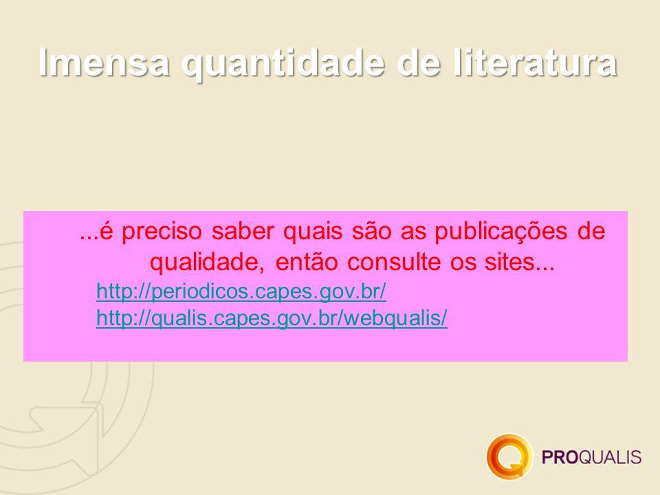 Imensa quantidade de literatura...é preciso saber quais são as publicações de qualidade, então consulte os sites...