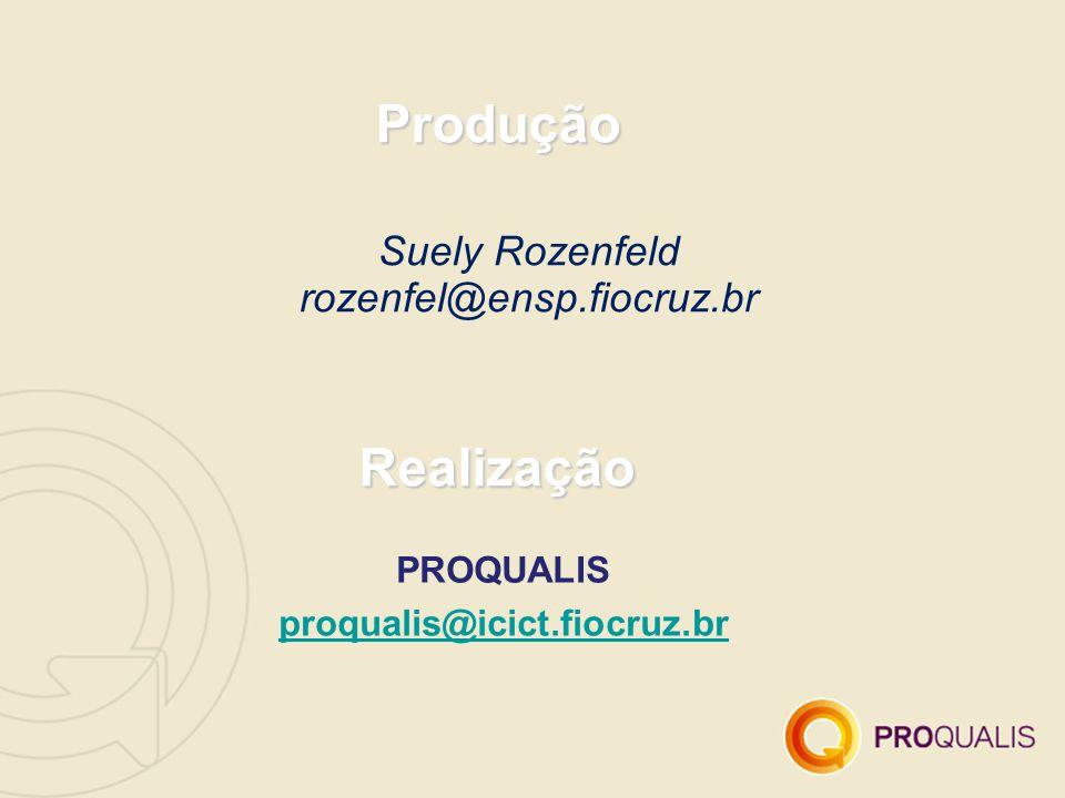 Suely Rozenfeld rozenfel@ensp.fiocruz.br Produção Realização PROQUALIS proqualis@icict.fiocruz.br