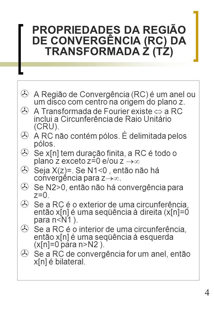 4  A Região de Convergência (RC) é um anel ou um disco com centro na origem do plano z.  A Transformada de Fourier existe  a RC inclui a Circunferê