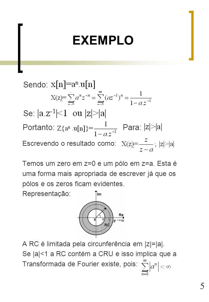 5 Escrevendo o resultado como: Temos um zero em z=0 e um pólo em z=a. Esta é uma forma mais apropriada de escrever já que os pólos e os zeros ficam ev